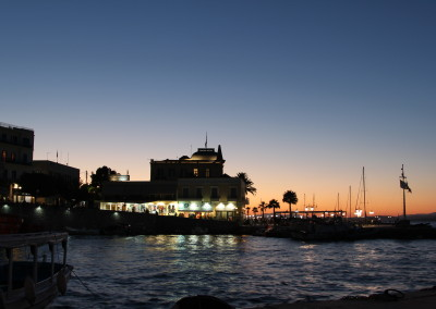 Spetses harbour by night