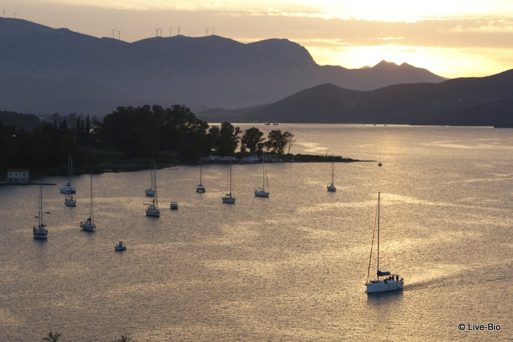 Poros island - sunset from the towerclock