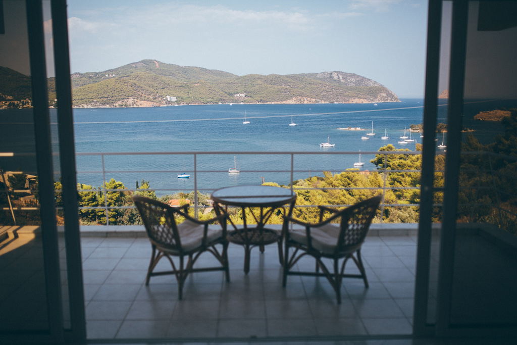 Enjoy your private balcony and the unhindered views of the Aegean sea