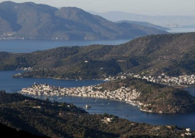 Poros view from Galatas Anderes mountains