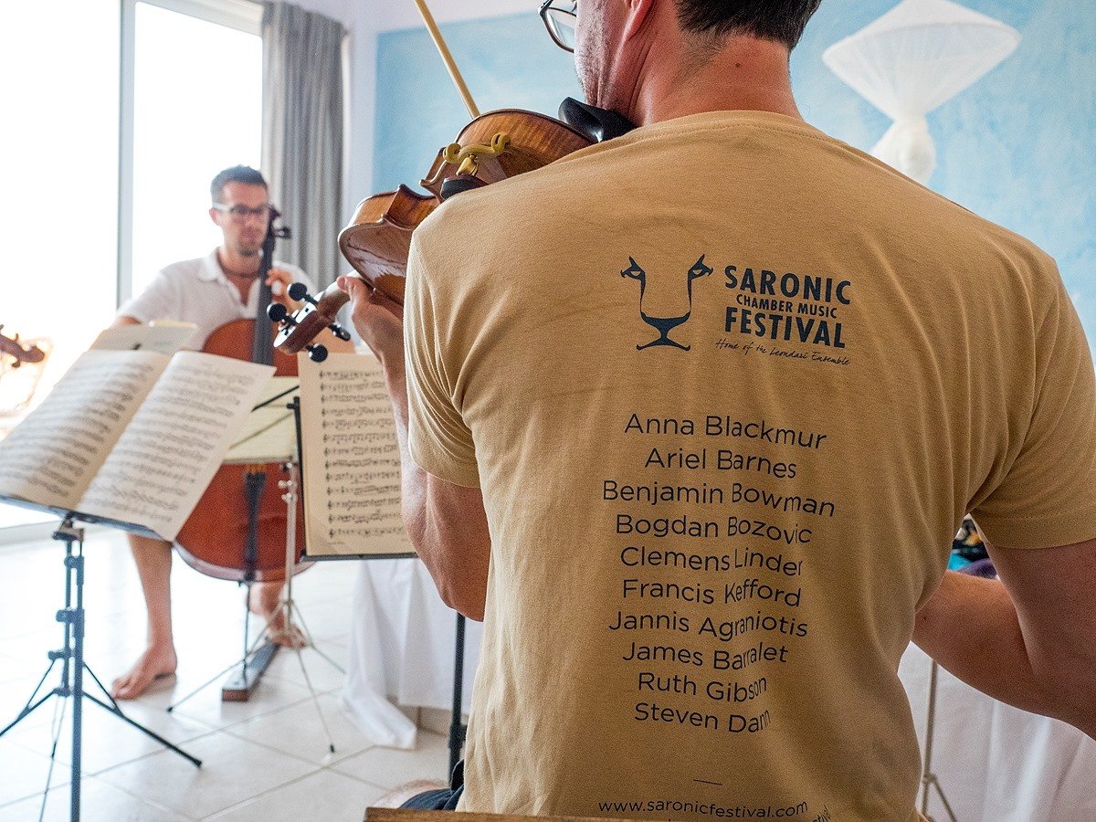 Saronic Chamber Music Festival musicians practice at Live-Bio