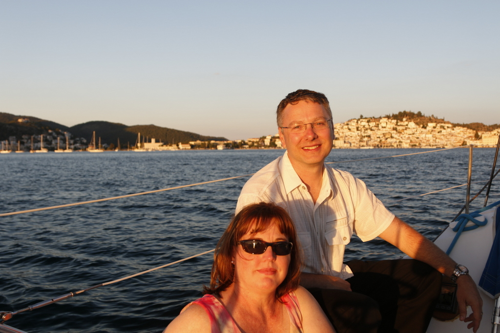Sailing to our dinner after the vows renewal ceremony